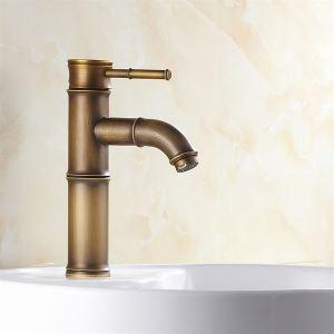キッチン蛇口 台所蛇口 冷熱混合水栓 真鍮 筍の形 ブロンズ色