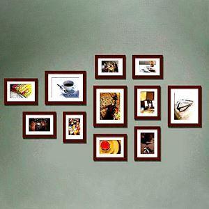 壁掛けフォトフレーム 写真用額縁 フォトデコレーション 茶色 11個セット 複数枚