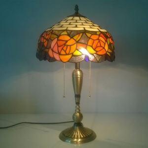 テーブルランプ ティファニーライト ステンドグラスランプ 卓上照明 ローズ柄 2灯 TL-12-013