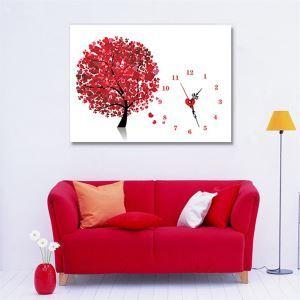 壁掛け時計 壁絵画時計 静音時計 キャンバス時計 おしゃれ 1枚パネル 紅葉 KA