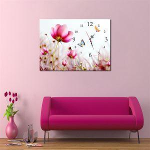 壁掛け時計 壁絵画時計 静音時計 1枚パネル 花