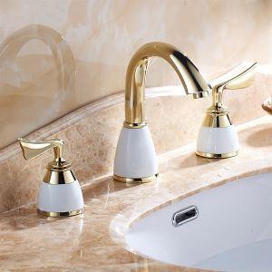 洗面蛇口 バス蛇口 浴室水栓 2ハンドル混合栓 TI-PVD