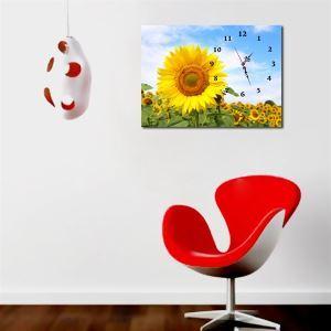 壁掛け時計 壁絵画時計 静音時計 1枚パネル ヒマワリ