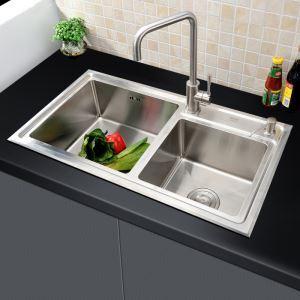 キッチン用流し台(蛇口なし) キッチンシンク 台所の流し台 2槽 #304ステンレス製流し台 HM8245S
