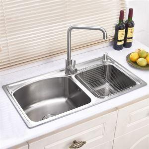 キッチン用流し台(蛇口なし) キッチンシンク 台所の流し台 2槽 #304ステンレス製流し台 AOMR8043