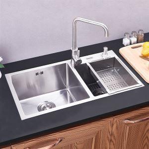キッチン用流し台(蛇口なし) キッチンシンク 台所の流し台 2槽 #304ステンレス製流し台 HM8045