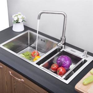 キッチン用流し台(蛇口なし) 台所の流し台 手作りシンク 2槽 #304ステンレス製流し台 HM7541
