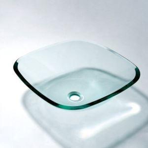 透明洗面台 洗面器 手洗器 手洗い鉢 洗面ボウル 排水金具付 正方形 VT5019