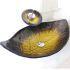 洗面ボウル&蛇口セット 強化ガラス製洗面台 洗面器 手洗器 手洗い鉢 洗面ボール 排水金具付 オシャレ 葉型 黄色 VT0695
