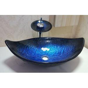 洗面ボウル&蛇口セット 強化ガラス製洗面台 洗面器 手洗器 手洗い鉢 洗面ボール 排水金具付 オシャレ 葉型 青色 VT0696
