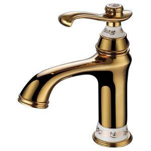 洗面蛇口 バス水栓 水道蛇口 冷熱混合水栓 真鍮製 Ti-PVD H214mm