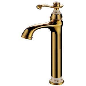 洗面蛇口 バス水栓 水道蛇口 冷熱混合水栓 真鍮製 Ti-PVD H334mm