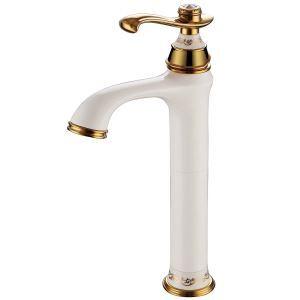 洗面蛇口 バス水栓 水道蛇口 冷熱混合水栓 真鍮製 白色&Ti-PVD H334mm