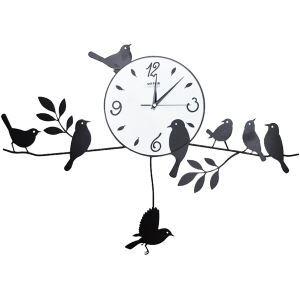 壁掛け時計 静音時計 メタル製 アニマル時計 鳥家族