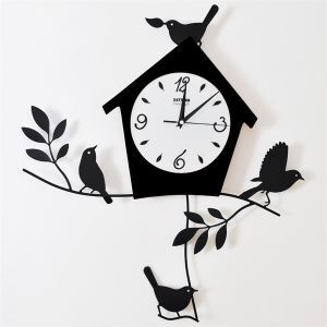 壁掛け時計 振り子時計 静音時計 メタル製 アニマル時計 ハウス&鳥&ツリー