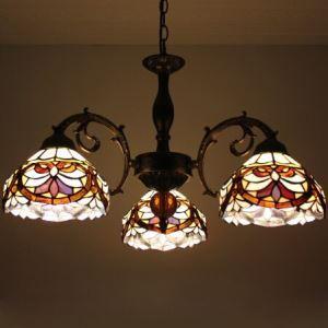 ステンドグラスランプ シャンデリア ティファニーライト 花柄B 3灯