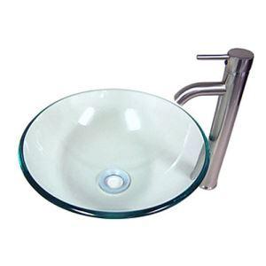 洗面ボウル&蛇口セット 洗面台 洗面器 手洗器 手洗い鉢 洗面ボール 排水金具付 透明