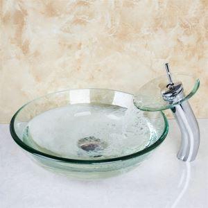 透明洗面ボウル&蛇口セット 手洗い鉢 洗面器 手洗器 洗面ボール 洗面台 ガラス 排水金具付 VT4012