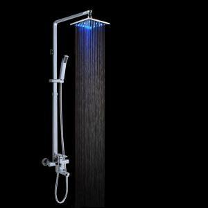 LEDレインシャワーシステム ヘッドシャワー+ハンドシャワー+蛇口付き