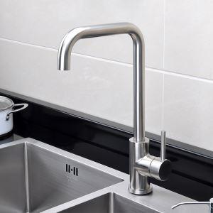 キッチン蛇口 台所蛇口 冷熱混合水栓 ステンレス製水栓 光沢 H375mm