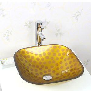 彩色上絵洗面ボウル 洗面台 洗面器 手洗器 手洗い鉢 排水金具付 方形 黄色 HAM034
