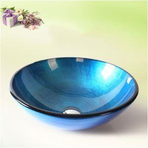 彩色上絵洗面ボウル 洗面台 洗面器 手洗器 手洗い鉢 排水金具付 青色 HAM035