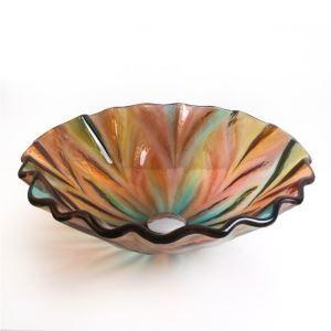 彩色上絵洗面ボウル 洗面台 洗面器 手洗器 手洗い鉢 排水金具付 虹色 花形 HAM057