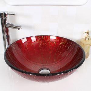 彩色上絵洗面ボウル 洗面台 洗面器 手洗器 手洗い鉢 排水金具付 レッド HAM125