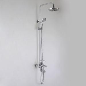 浴室シャワー水栓 レインシャワーシステム バス水栓 ヘッドシャワー+ハンドシャワー+蛇口 混合栓 クロム