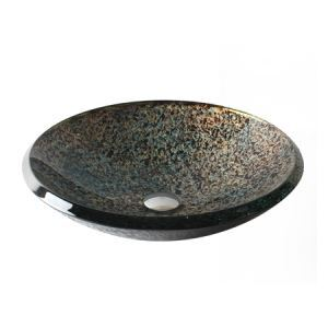 彩色上絵洗面ボウル 強化ガラス製洗面台 洗面器 手洗器 手洗い鉢 排水金具付 円形 HAM005