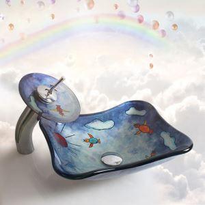 洗面ボウル&蛇口セット 手洗い鉢 洗面器 手洗器 洗面ボール 洗面台 ガラス 排水金具付 オシャレ 船型 可愛 HAM1543