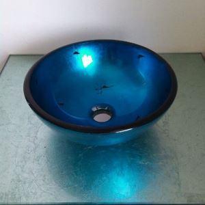 彩色上絵洗面ボウル 洗面台 洗面器 手洗器 手洗い鉢 排水金具付 D31cm VT3112