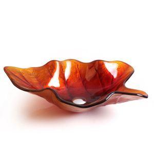 洗面ボウル 強化ガラス製洗面台 洗面器 手洗器 手洗い鉢 洗面ボール 排水金具付 芸術的 葉型 HAM004