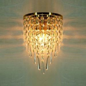 壁掛けライト ウォールランプ 玄関照明 クリスタル 半円形 金色 1灯 BEH304275