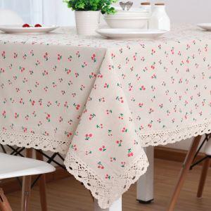 テーブルクロス テーブルカバー リネン 北欧 おしゃれ ダイニング 食卓 チェリー 100*150cm