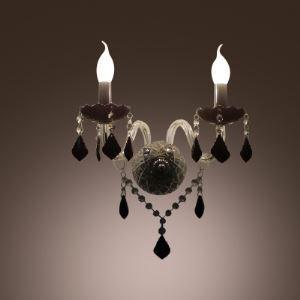 壁掛けライト クリスタル照明 ウォールランプ 照明器具 黒色 2灯 BEH300961