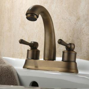 洗面蛇口 バス蛇口 浴室水栓 2ハンドル混合栓 ブロンズ