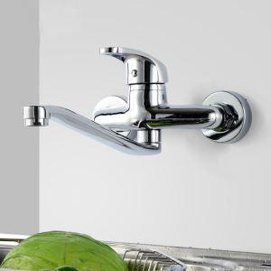 壁付水栓 キッチン蛇口 台所蛇口 冷熱混合栓 水道蛇口 360度回転 クロム