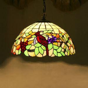 ティファニーライト ステンドグラス照明器具 ペンダントライト ブドウ&鳥