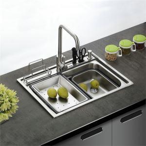 キッチンシンク(蛇口なし) 台所の流し台 #304ステンレス製流し台 GN6045 27in