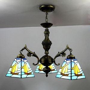 シャンデリア ステンドグラスランプ ティファニーライト 照明器具 リビング照明 吹き抜け照明 3灯 BEH4022