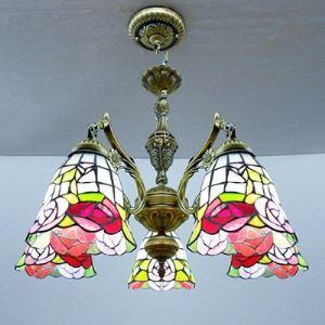 シャンデリア ステンドグラスランプ ティファニーライト リビング照明 ダイニング照明 照明器具 5灯 BEH2975