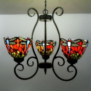 シャンデリア ステンドグラスランプ ティファニーライト 照明器具 リビング照明 吹き抜け照明 3灯 BEH3392