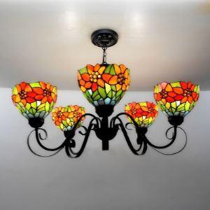 ステンドグラス シャンデリア ティファニーライト 照明器具 5灯 BEH403097