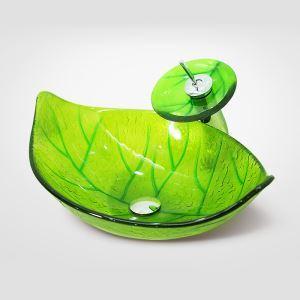 彩色上絵洗面ボウル&蛇口セット 洗面台 洗面器 手洗器 手洗い鉢 排水金具付 葉型 浅緑色 HAM012
