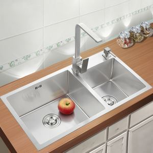 キッチン用流し台(蛇口なし) 台所の流し台 手作りシンク #304ステンレス製流し台 2槽 75*41cm