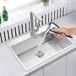 キッチン用流し台(蛇口なし) 台所の流し台 手作りシンク #304ステンレス製流し台 50*45cm