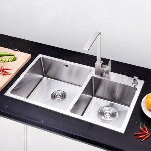 キッチン用流し台(蛇口なし) 台所の流し台 手作りシンク #304ステンレス製流し台 2槽 78*43cm