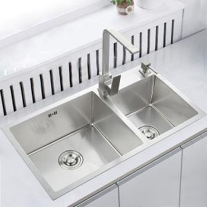 キッチン用流し台(蛇口なし) 台所の流し台 手作りシンク #304ステンレス製流し台 2槽 82*45cm