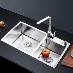 キッチン用流し台(蛇口なし) 台所の流し台 手作りシンク #304ステンレス製流し台 2槽 71*42cm
